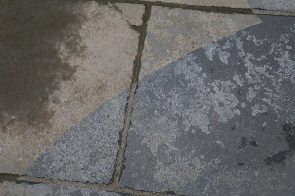 Natural stone slabs before and after cleaning